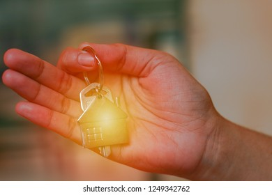 Hand Holding, The Key with Home Symbol Keychain, light leak effect