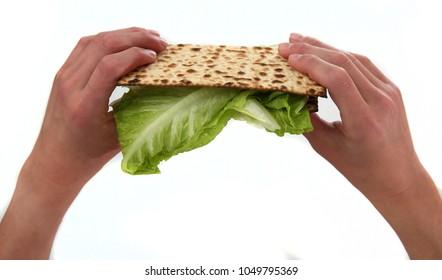 """Hand holding a """"korech""""  matzah sandwich, for Jewish passover ritual"""