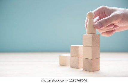 Hand holding leader to success, Helping to Reach a Goal, copy space.
