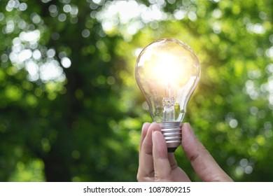 hand holding light bulb in garden green nature background.
