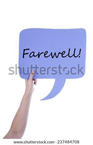 Hand Holding Light Purple Speech Balloon Stock Photo (Edit