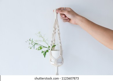 Hand holding Macrame plant hangers in scandinavian interior.