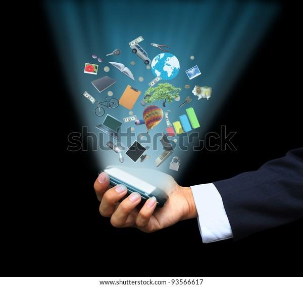 Hand holding magic phone
