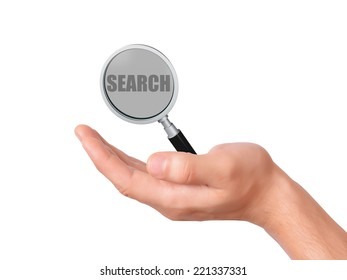 hand holding magnifier glass with search text on white background
