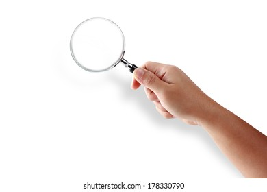 Hand holding magnifying glass isolated on white background, Objects with clipping paths for design work