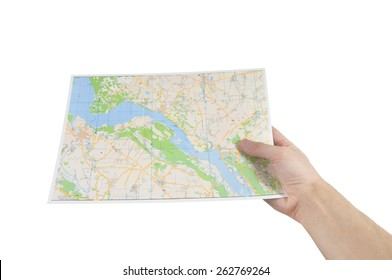 hand holding a map