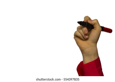 Hand holding marker isolated on white boards