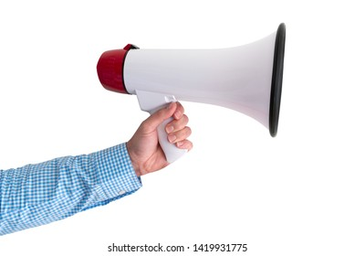 hand holding megaphone or bullhorn isolated on white background