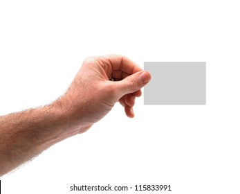 A hand holding a memo isolated against a white background