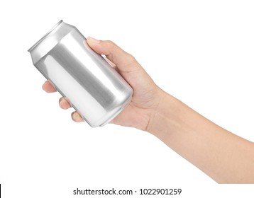 hand holding metal can isolated on white background