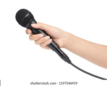 Hand holding a microphone interview conducting a business isolated on white background