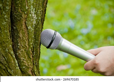 Hand holding microphone near the tree. Listening to nature concept. Close up.