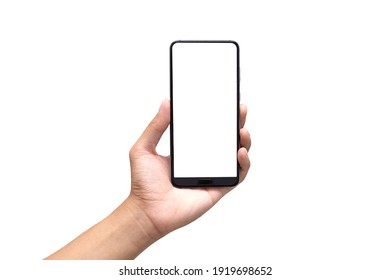 Hand holding mobile phone with blank screen on white background. Isolated.