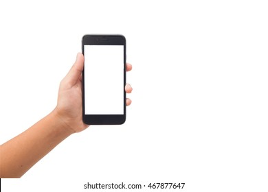 Hand holding mobile phone with blank screen. Isolated on white.clipping path included