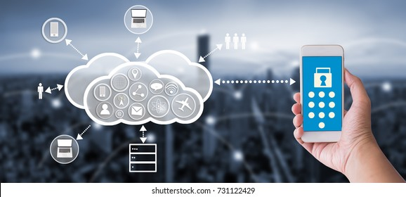 Hand holding mobile phone with cloud and digital technology icon