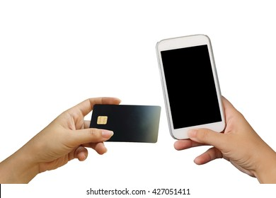 hand holding mobile phone and credit card ,isolate white background