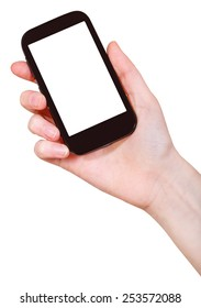 hand holding mobile phone with cut out screen isolated on white background