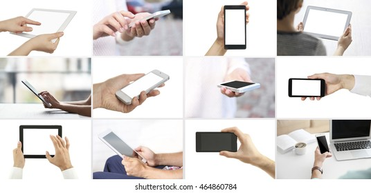 Hand holding mobile phone and digital tablet , collage of different photos