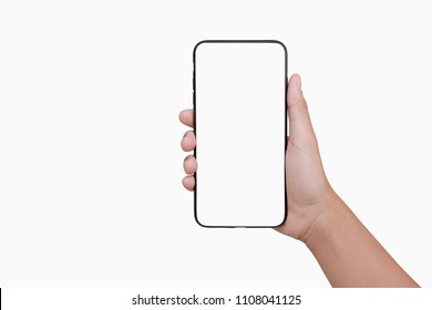 hand holding mobile phone isolate on white background