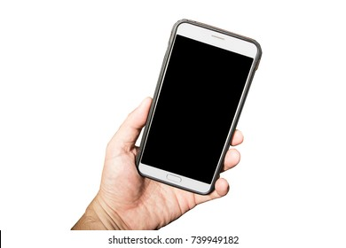 Hand holding mobile phone isolated on white background
