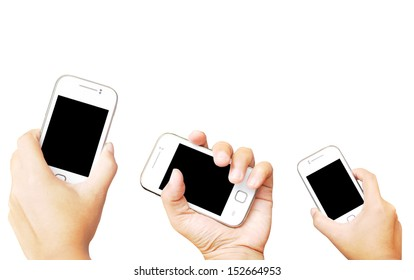 Hand holding mobile phone on white background