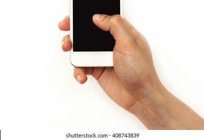 Hand holding mobile phone, pressing with thumb on screen,isolated