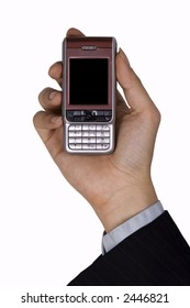 A hand holding a mobile phone for support.