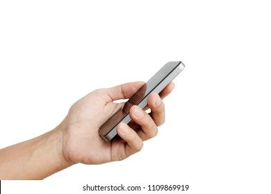 Hand holding mobile smart phone, isolated on white background
