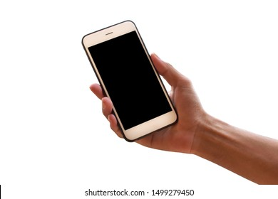 Hand holding mobile smart phone or telephone on white background