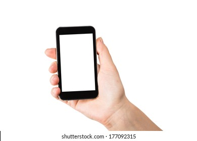 Hand holding mobile smart phone with blank screen.  on white.