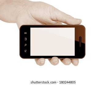 Hand holding mobile smart phone with blank screen. Isolated on white background.