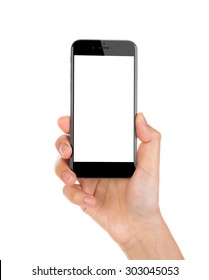 Hand holding mobile smart phone with blank screen Isolated on white background