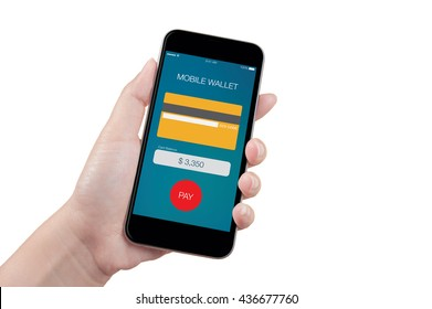 Hand holding mobile smart phone with online mobile wallet screen on white background, isolated