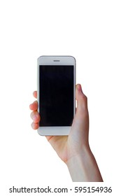 Hand holding mobile smart phone with blank screen, isolated on white background.