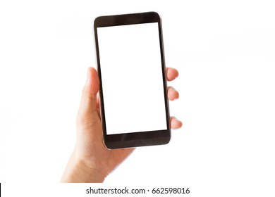 hand holding mobile smart phone with blank white screen isolated on white background - clipping path inside
