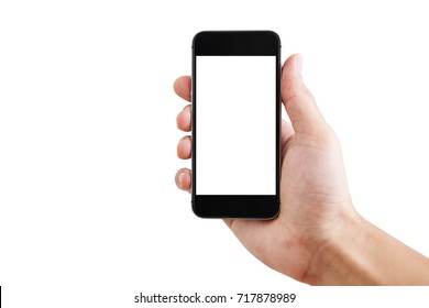 Hand holding Mobile smart phone, isolated on white background. Clipping path included
