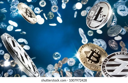 Hand holding mobile tablet with stack of bitcoin coins against the the blue background. Digital monitoring, checking and money exchange cryptocurrency concept