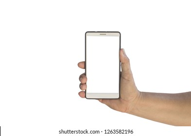 hand holding mobilephone touch screens and blank screens that are separate from the white background and have shortcuts