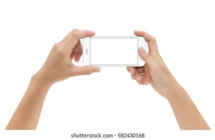 hand holding mock up phone mobile isolated on white background