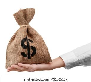 Hand holding money bag, isolated on white