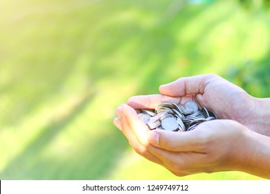 hand holding money coins on green nature background