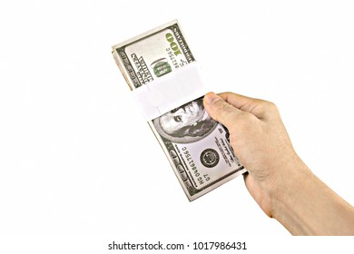 Hand holding money dollar isolated on white background with clipping path.