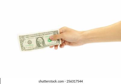 hand holding money isolated on white background.