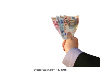 A hand holding money, isolated on a white background