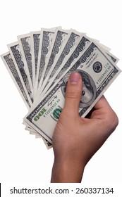 Hand holding money - United States dollar (USD)