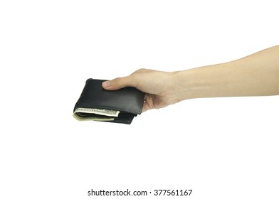 hand holding money wallet isolated on white background.