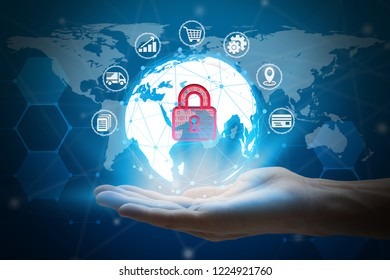 hand holding network using Currencies sign symbol interface of padlock over the Network connection of World map background
