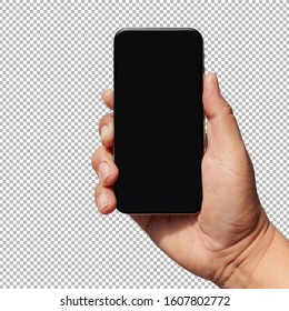 hand holding  new smartphone isolated with clipping path  on transparent background.