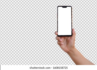 hand holding a new smartphone isolated on a transparent background   with the clipping path.