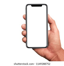 Hand holding, New version of black slim smartphone similar to iphone x with blank white screen from Apple generation 10 , Front mockup model similar to iPhonex ,Digital economy technology